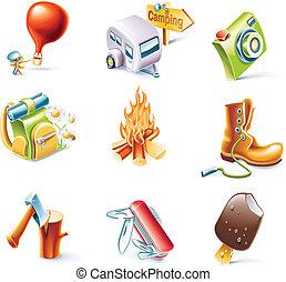 vetorial, caricatura, estilo, ícone, jogo, P, 14