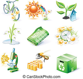 Vector cartoon style icon set P21 - Set of highly detailed...