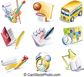 Vector cartoon style icon set P24 - Set of highly detailed...