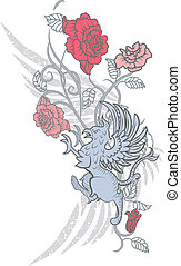 gryphon and roses - Fantasy design with gryphon and roses on...