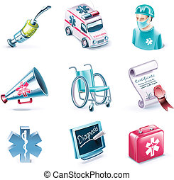 Vector cartoon style icon set P26 - Set of highly detailed...