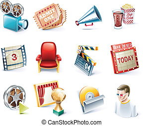 Vector cartoon style icon set P32 - Set of highly detailed...