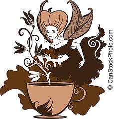 beautiful coffee's fairy