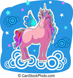 Magic Unicorn with wings on clouds..Hi rez jpg and AI files...