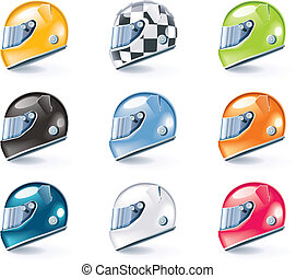 Vector sport equipment icons - Set of the shiny sport...