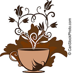 cup of coffee or tea - Color illustration of a cup of coffee...