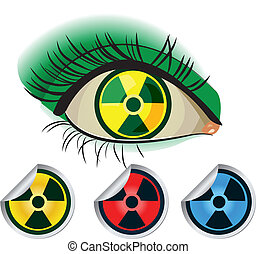Radioactive ikons. Human eye and red, yellow and blue