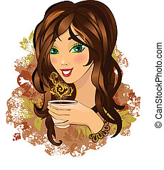 Young female drinking hot coffee - Color illustration of a...