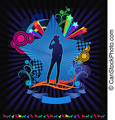 West cowgirl vector illustration in rainbow design