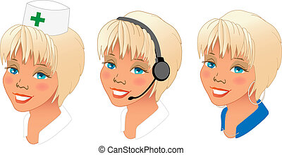 different women profession avatars - Collection of three...