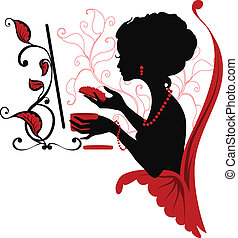 Doodle graphic silhouette of a woman look after herself...