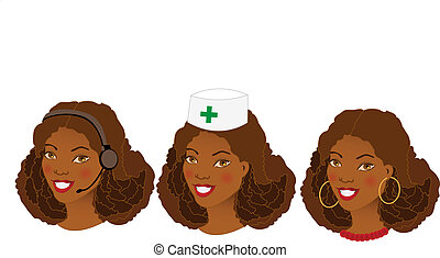 Collection of three different women profession avatars