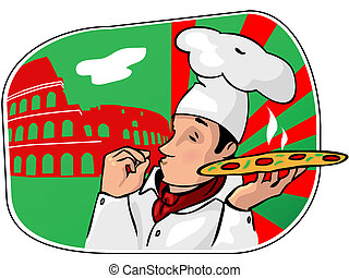 pizza_chief - Illustration of an italian cartoon chef with a...
