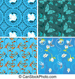 Blue collection seamless patterns for your design
