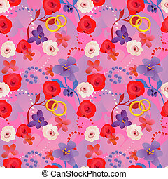 Seamless wedding pattern with flower, rings and pearls