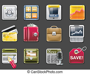 Vector universal square icons. P.6g - Set of square glossy...
