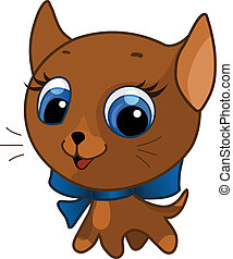 illustration of a brown cute kitte