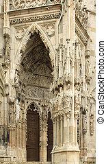 Regensburg - Cathedral door portal in Regensburg (Ratisbon),...