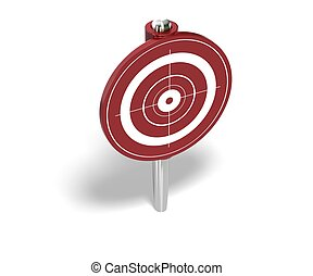 red target pin over a white background