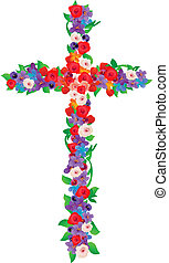 The Flowers Cross - Cross consists of flowers and leaves on...