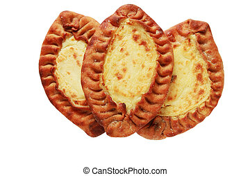 traditional karelian pasties from Finland over white