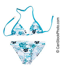 swimsuit with a blue pattern isolated on a white background