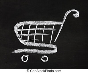 Shopping cart icon, hand drawn by chalk over blackboard