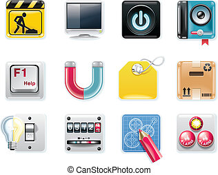 Vector universal square icons P5w - Set of square glossy...