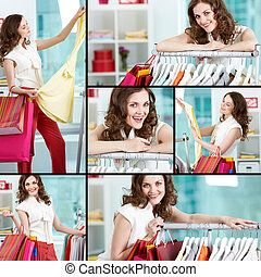 Shopping woman - Collage of pretty woman shopping in...