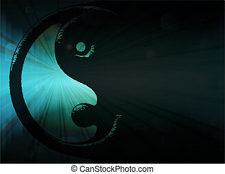 Yin Yang symbol in blue background, vector illustration