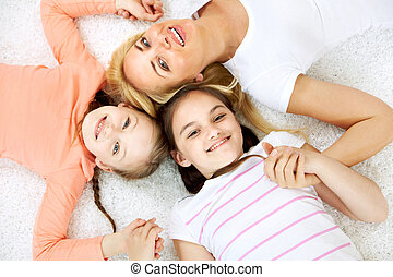 Happy family - Portrait of cheerful family in casual clothes...