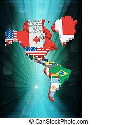 3D north and sud american map