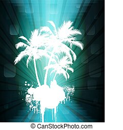 Palm tree - palm tree`s in abstract blue background, vector...