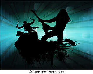 Rock band in abstract blue background, vector illustration