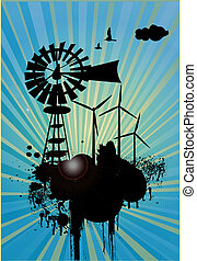 Windmill turbines in beautiful abstract blue background,...