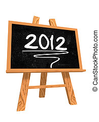 2012 on blackboard - 3d isolated blackboard with easel with...