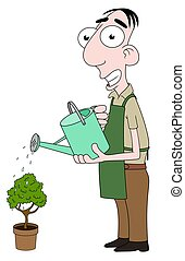 Florist watering plant - Isolated cartoon Florist character...