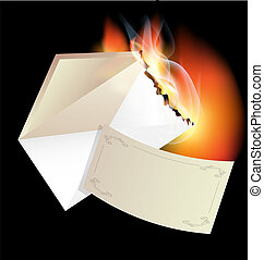 burning envelope - on a black background is the burning...