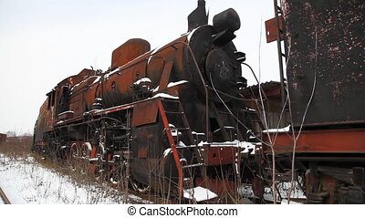 Old locomotive - Train cemetery near Moscow city Dolly shot...