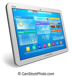 blanc, tablette, PC