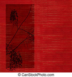 blossom silhouette on Stained red wooden slatted background