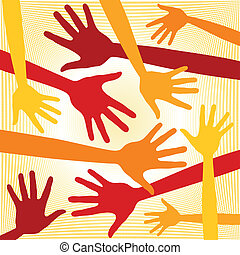 Funky hand pattern. - Funky hand pattern design vector.