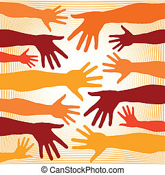 Colorful hands vector pattern.