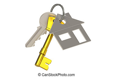 House and Keys  - Keys with a House Key Ring. Brass
