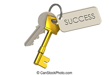 Key to Success - 2 Keys and a Key Ring. Brass