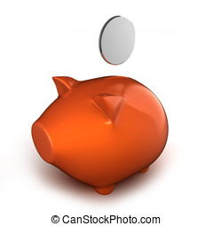 3d piggy bank with coin