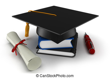 3d school graduation isolated on white