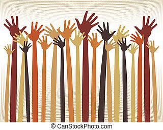 Happy celebration hands. - Happy celebration hands design...
