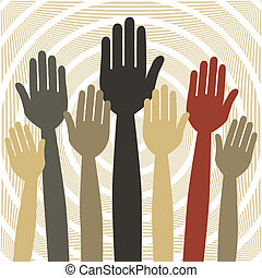 Hands volunteering or voting - Hands volunteering or voting...
