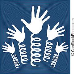 Hands on springs design. - Hands on springs design vector.